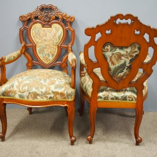 Set of 8 Carved Walnut Dining Chairs