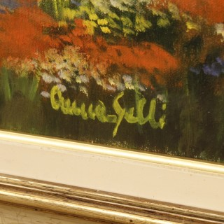 Italian signed landscape painting in Impressionist style