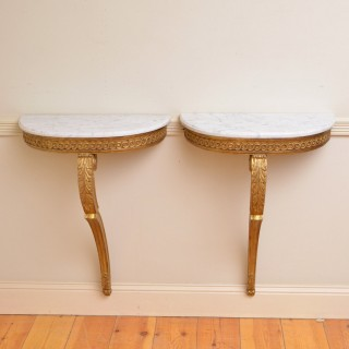 Pair of Turn of the Century Giltwood Console Tables