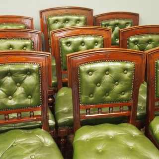 Set of 12 Mahogany and Green Leather Dining Chairs
