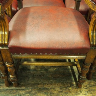 Set of 24 Victorian Carved Oak Dining Chairs