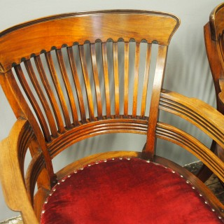 Pair of Edwardian Mahogany Office Chairs