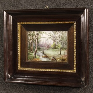 Pair Of French Signed Landscape Painting On Limoges Ceramic From 20th Century