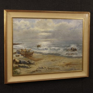 Italian seascape painting oil on canvas