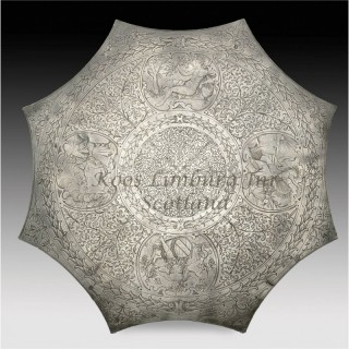 """A magnificent and very rare pewter """" Kuchenplatte """"with silver quality engraving, marked with the coat of arms of the German Town: Neurenberg,"""