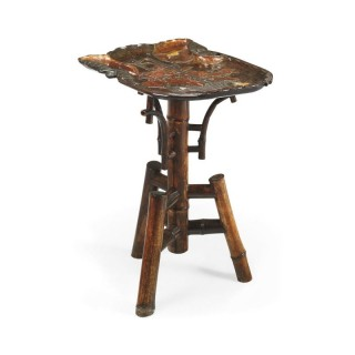 Antique Japanese bone and lacquered wood tray table