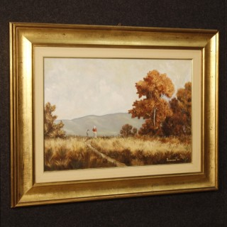 Italian Signed And Dated Landscape Painting Oil On Canvas From 20th Century