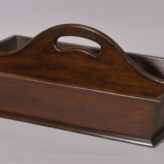 Antique Treen Mahogany Two Division Cutlery Tray