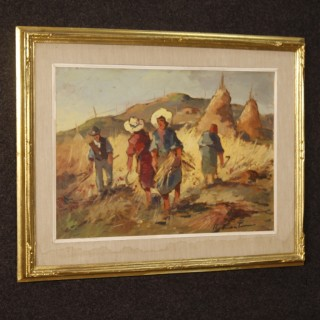 Italian signed painting landscape with workers in the fields