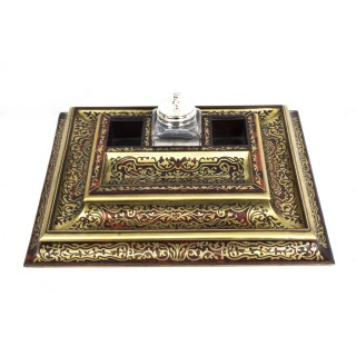 Antique French Boulle & Cut Brass Inkstand c.1860