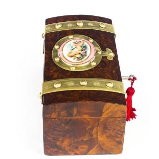 Antique Burr Walnut Casket Inset Sevres Porcelain Plaque 19th Century