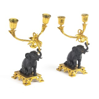 Antique Pair French Bronze & Ormolu Elephant Two Light Candelabra 19th C