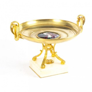 Antique French Ormolu Tazza with Limoges Enamel Plaque 19th C