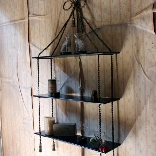 An Unusual Mid-20thC Ebonised & Gilt-Metal Wall Shelf