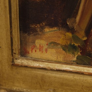 Italian Interior Scene Signed Painting Oil On Canvas From 20th Century