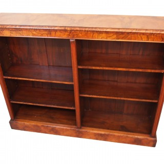 Antique 19th Century Burr Walnut Dwarf Open Bookcase