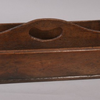 Antique Treen 19th Century Oak Two Division Cutlery Tray