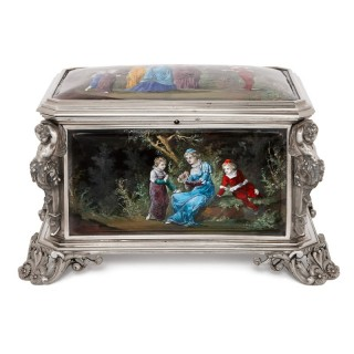 Renaissance style enamel and silvered jewelry casket
