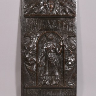 Antique 17th Century Walnut Carved Panel