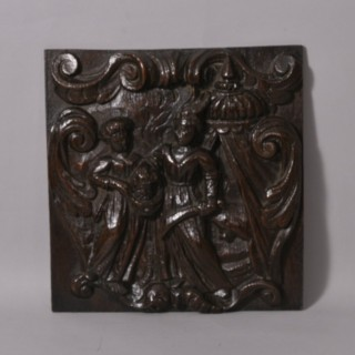 Antique 17th Century Oak Panel of Judith after Beheading an Assyrian General