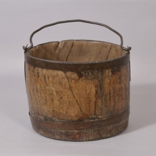 Antique 18th Century Iron Bound Oak Bucket