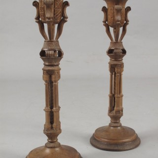 Stylish Art Deco Walnut Pair of Candle Sticks