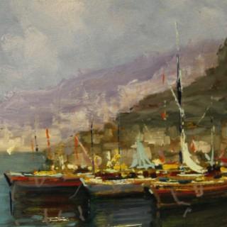 Italian signed seascape painting