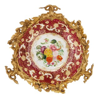 French Baroque style ceramic and gilt bronze centrepiece dish