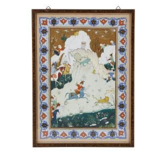 Set of four Persian paintings, Qajar period