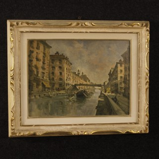 Italian Landscape Painting View Of Milan Navigli Mixed Media On Masonite 20th Century