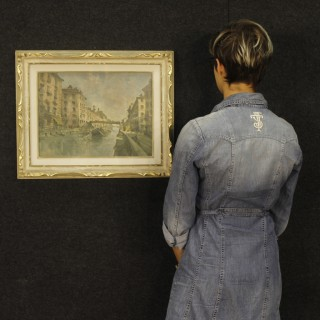 Italian Landscape Painting View Of Milan Navigli Mixed Media On Masonite 20th Century