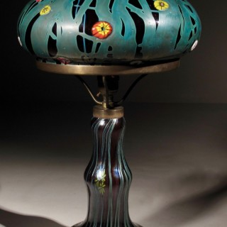 Very Decorative Rubi Glass with Millefiori/Iridescent Steuben Style Table Lamp.