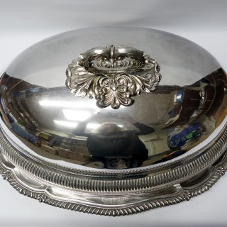 Antique Silver Meat Dishes with Dome Covers