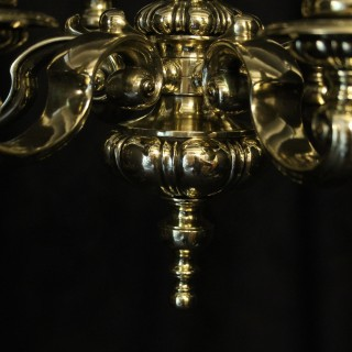 English Brass 5 Light Antique Chandelier