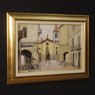 Italian Signed And Dated Painting View Of The City Oil On Canvas From 20th Century