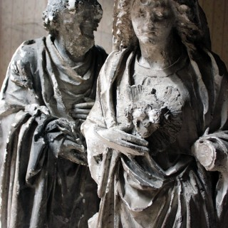 Two 19thC Ecclesiastical Plaster Figures of The Immaculate Heart of Mary & St. David c.1880