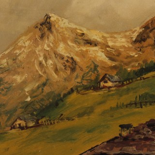 French Mountain Landscape Painting Oil On Cardboard From 20th Century