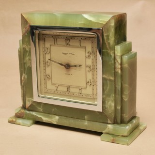 Mappin Webb London Art Deco Green Onyx and Chroom Mantel clock