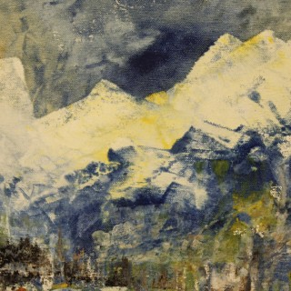 Italian abstract painting mixed media on canvas
