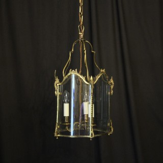 French Convex Triple Light Antique Hall Lantern
