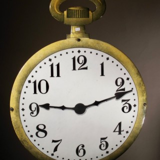 Very Large Pocket Watch Clock makers Enamel Double sided Shop Window Sign