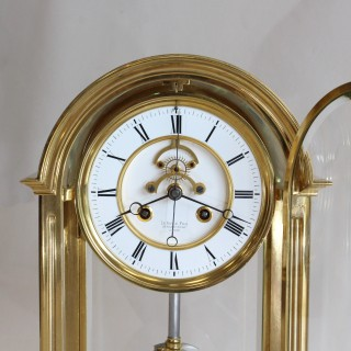 Large Four Glass Clock with sweep seconds, Le Roy & Fils