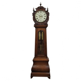 Carved Drum Head Grandfather Clock by J W Mitchell, Glasgow