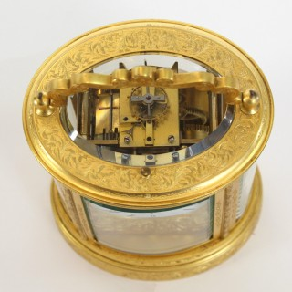 Antique Oval Engraved carriage clock