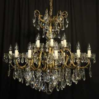 Italian Bronze & Crystal 18 Light Chandelier