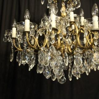 Italian Bronze & Crystal 18 Light Chandelier