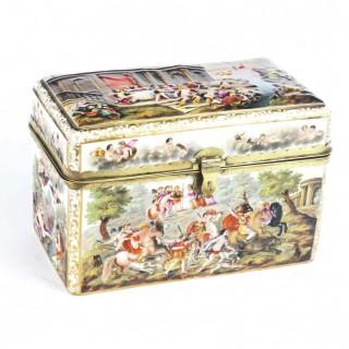 Antique Italian Large Capodimonte Porcelain Table Casket 19th C