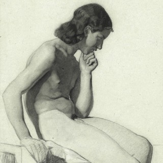 Life Drawing of a Pensive Male Nude
