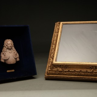 Three very rare and fine carved wax portraits, circa: 1700 showing three historical important persons: