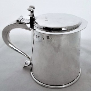 Very rare Charles II silver single step lidded tankard London 1663 Robert Gregory